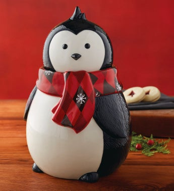 Holiday Penguin Cookie Jar with Cookies