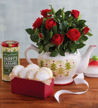 Rose Teapot with Cookies and Tea