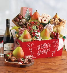 Christmas Gift Basket with Wine