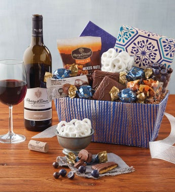 Festive Gift Basket with Wine by Harry & David