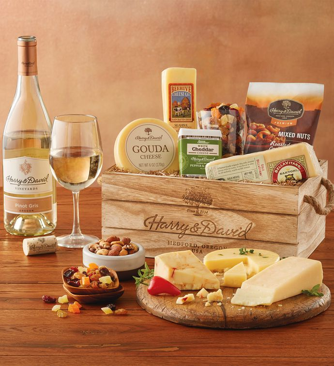 Gourmet cheese gift with wine wine gifts harry david negle Choice Image