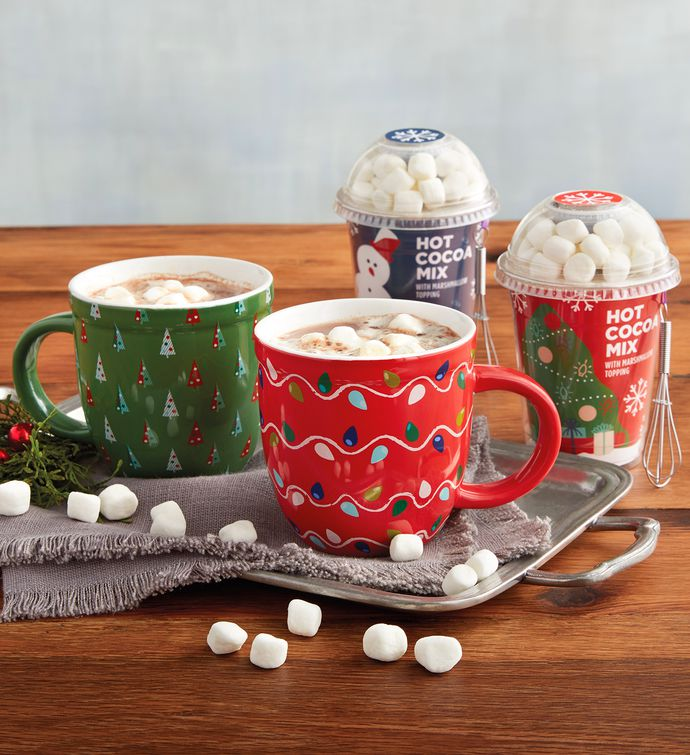 Holiday Hot Chocolate Gift Set with Mugs | Gourmet Hot Chocolate Gifts