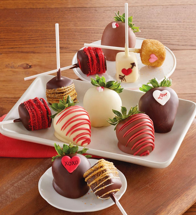 valentines day hand dipped chocolate covered strawberries and cheesecake pops half dozen each - Valentines Strawberries