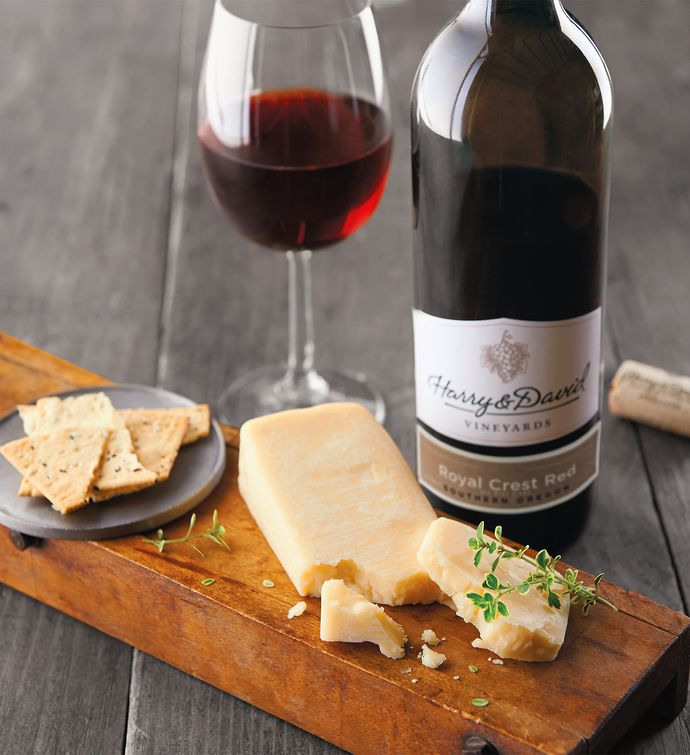 Sartori Asiago Cheese and Harry  David Royal Crest Red Blend
