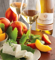 Oregold® Peaches, Honey Goat Cheese, and Harry & David™ Chardonnay