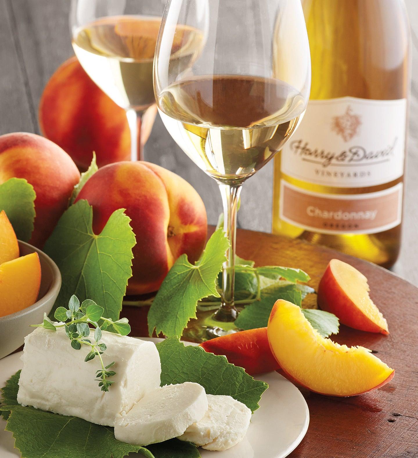 Oregold Peaches Honey Goat Cheese and Harry  Davidtrade Chardonnay