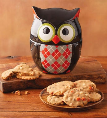 Owl Cookie Jar with Cookies