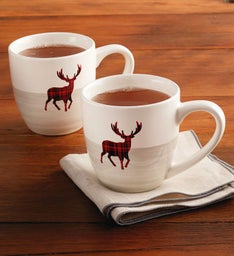 Plaid Reindeer Mug Set