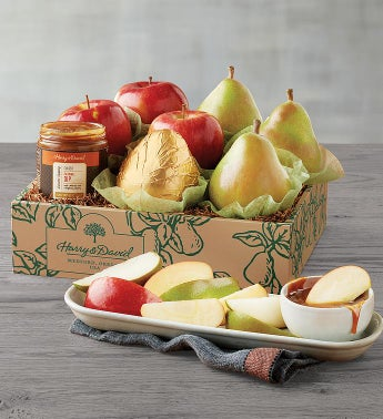 Pears Apples and Caramel Sauce