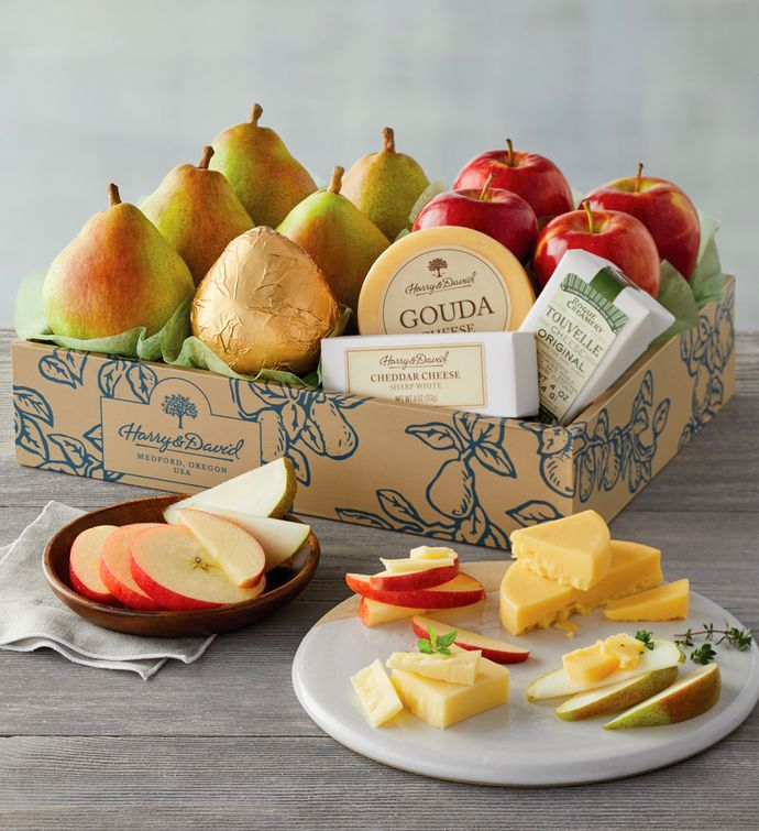 Deluxe Pears Apples and Cheese Gift & Fruit u0026 Cheese Baskets and Gift Delivery | Harry u0026 David