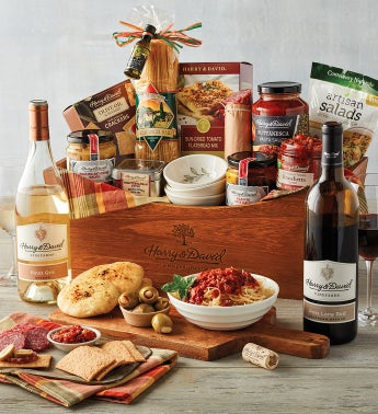 Italian Inspirations Gift Basket with Wine