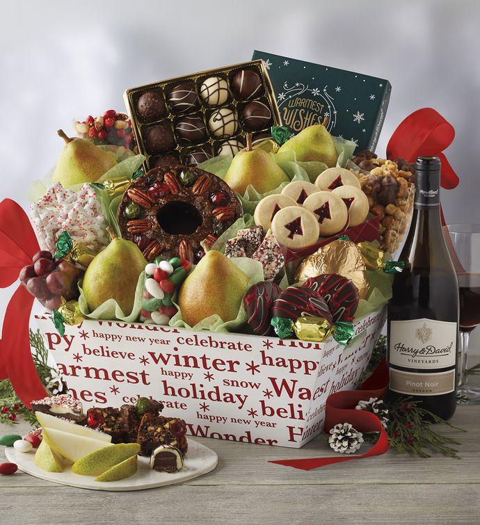 deluxe christmas gift basket with wine