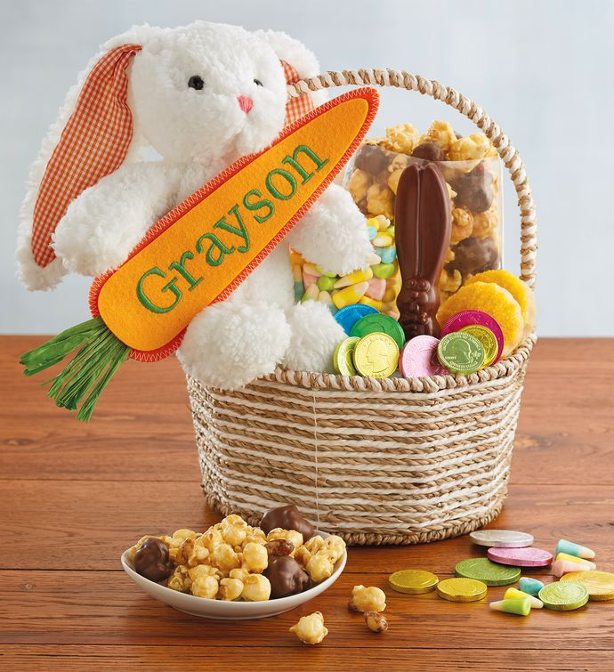 Personalized easter bunny gift basket easter baskets delivered personalized easter bunny gift basket negle Image collections