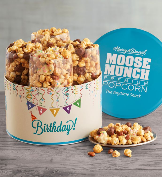 Moose Munch Premium Popcorn Birthday Tin