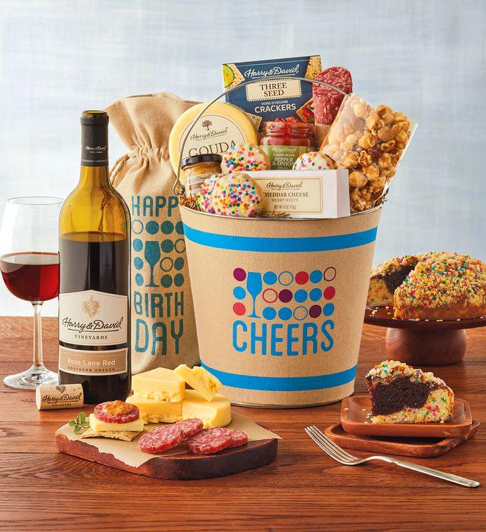Happy Birthday Gift Tower By Gourmetgiftbaskets Com: Deluxe Happy Birthday Wine Gift