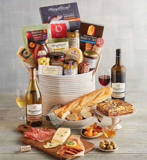 Elegant Gold Wine Gift Basket