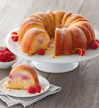 Lemon Bundt Cake with Raspberry Cheesecake Filling