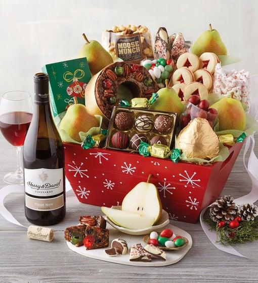 Christmas Gift Basket with Wine