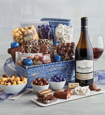 Festive Gift Basket with Wine