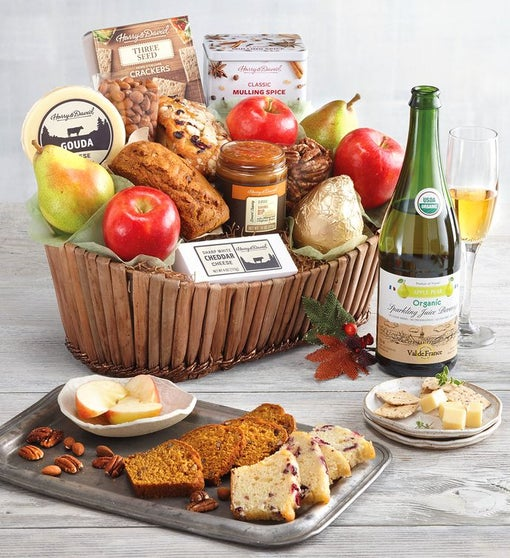 Harvest Treats Gift Basket with Wine