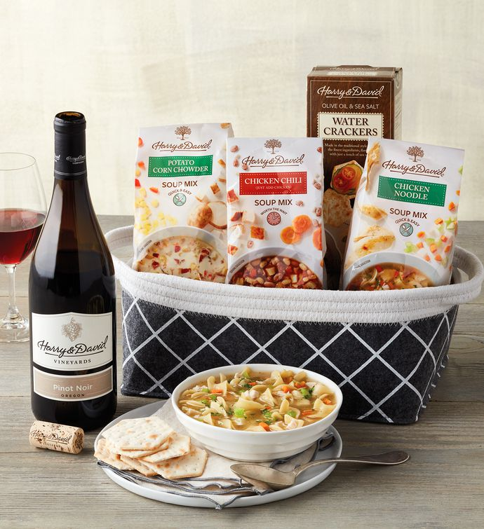 Soup Gift Basket with Wine