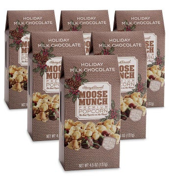 Moose Munch® Holiday Milk Chocolate Premium Popcorn – 6 Pack