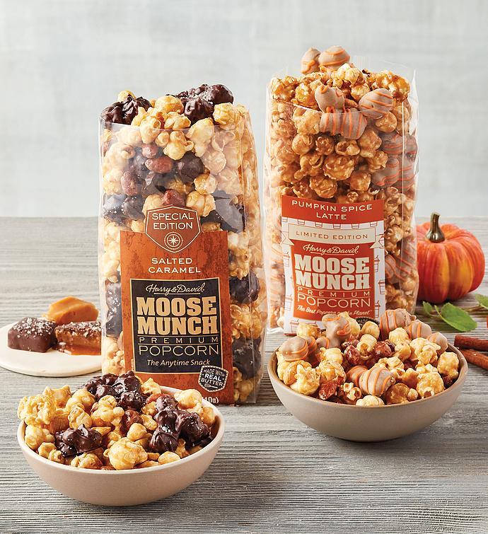Moose Munch Premium Popcorn Duo  Salted Caramel and Pumpkin Spice Latte Mix