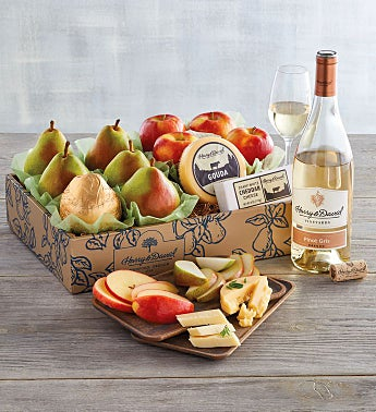Pears, Apples, and Cheese Gift with Wine