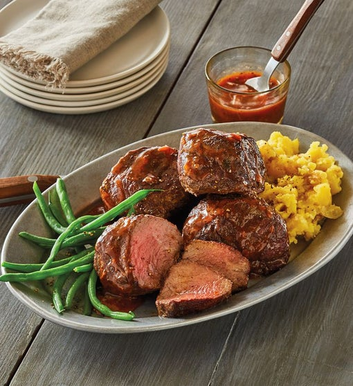 Four 6-Ounce USDA Prime Filet of Top Sirloin with Red Wine Mushroom Finishing Sauce
