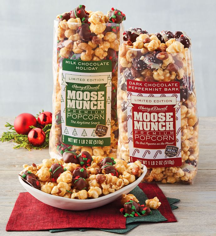 Moose Munch Limited Edition Premium Popcorn  Holiday and Peppermint