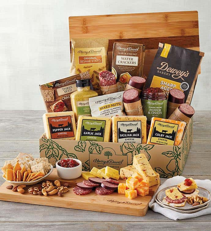 Ultimate Meat and Cheese Gift Box with Bamboo Board