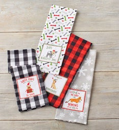 Holiday Dog Embellished Towels  Set of
