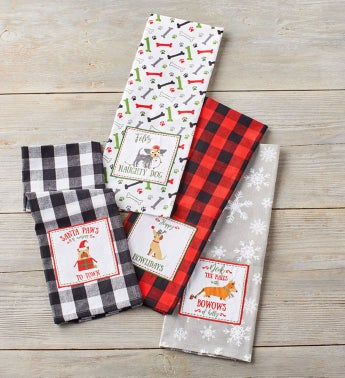 Holiday Dog Embellished Towels 8211 Set of 4