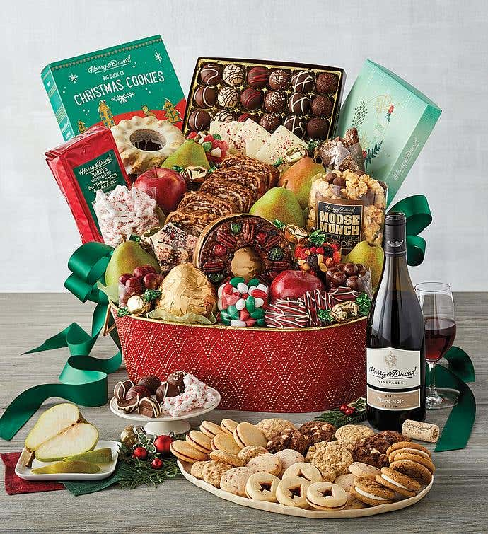 Ultimate Christmas Gift Basket with Wine