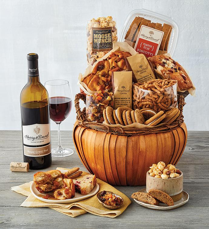 Pumpkin-Shaped Gift Basket with Wine
