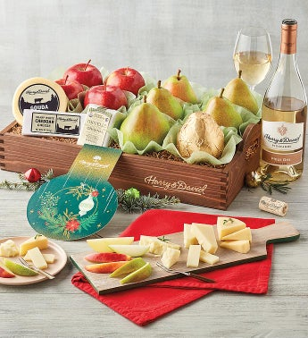 Holiday Pears Apples and Cheese Gift with Wine
