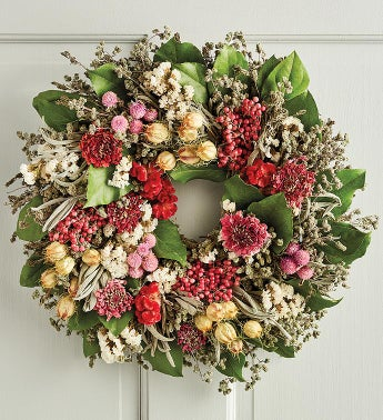 Pink Floral and Berry Wreath