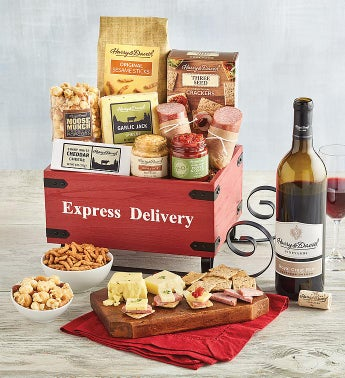 Meat and Cheese Sled Gift with Wine