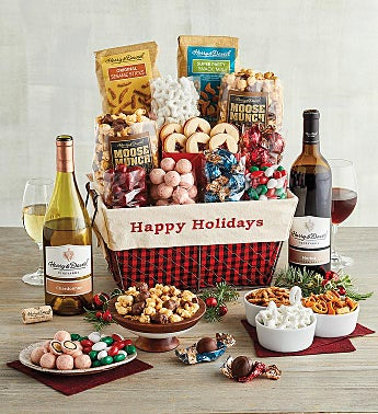 Happy Holidays Gift Basket with Wine