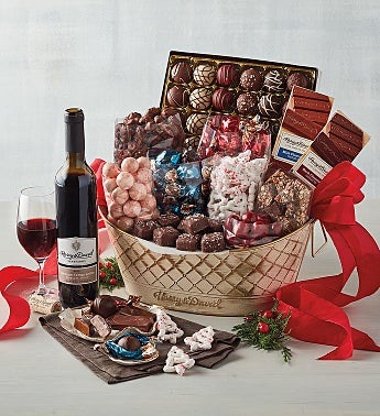 Holiday Chocolate Basket with Wine