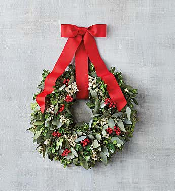 Holiday Boxwood and Red Berry Wreath