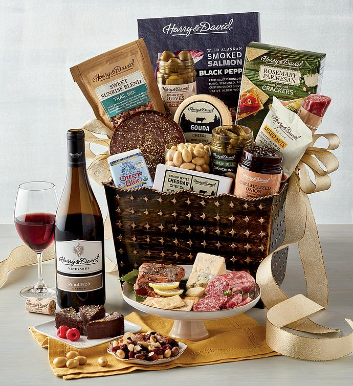 Deluxe Luxury Gourmet Gift Basket with Wine