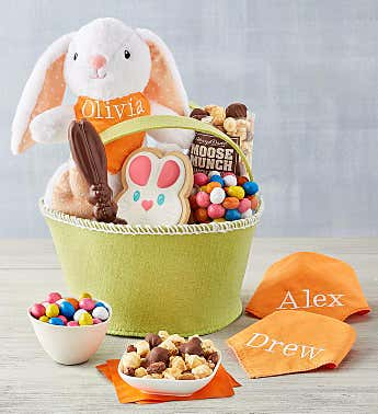 Personalized Easter Gift Basket with Plush Bunny