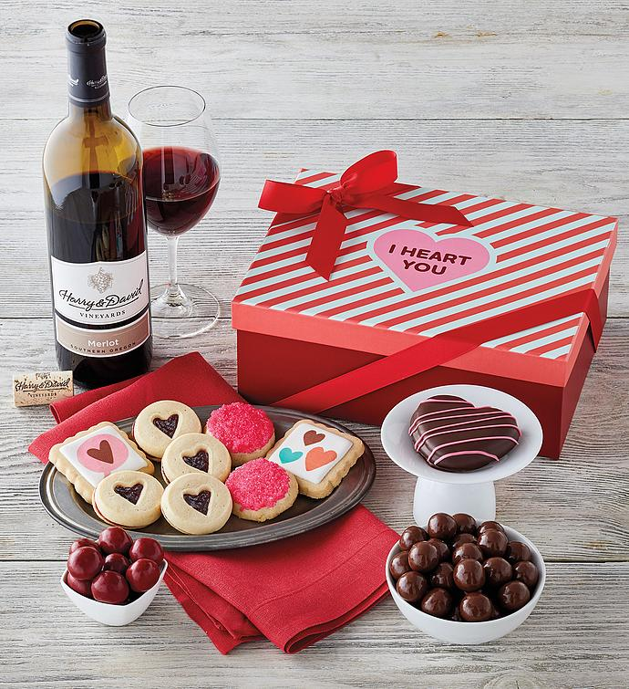 Valentine's Day Sweets Box with Wine