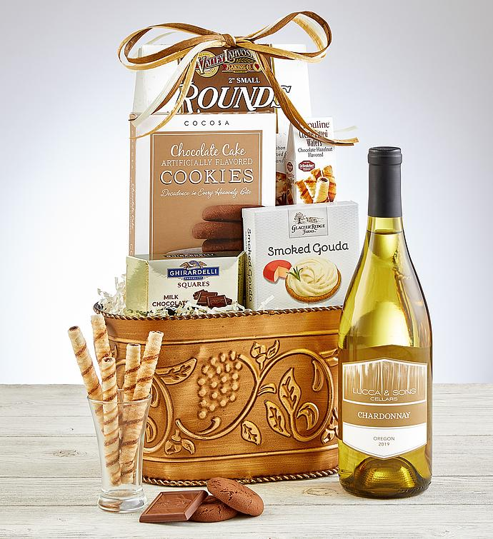 Grapevine White Wine Gift Basket