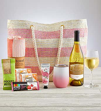 Beach Time Gift Tote with Wine