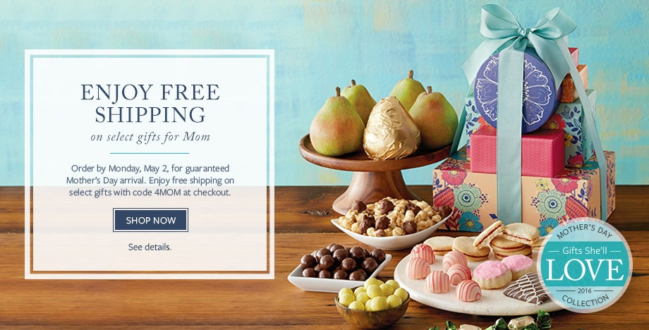 ENJOY FREE SHIPPING ON SELECT GIFTS FOR MOM.