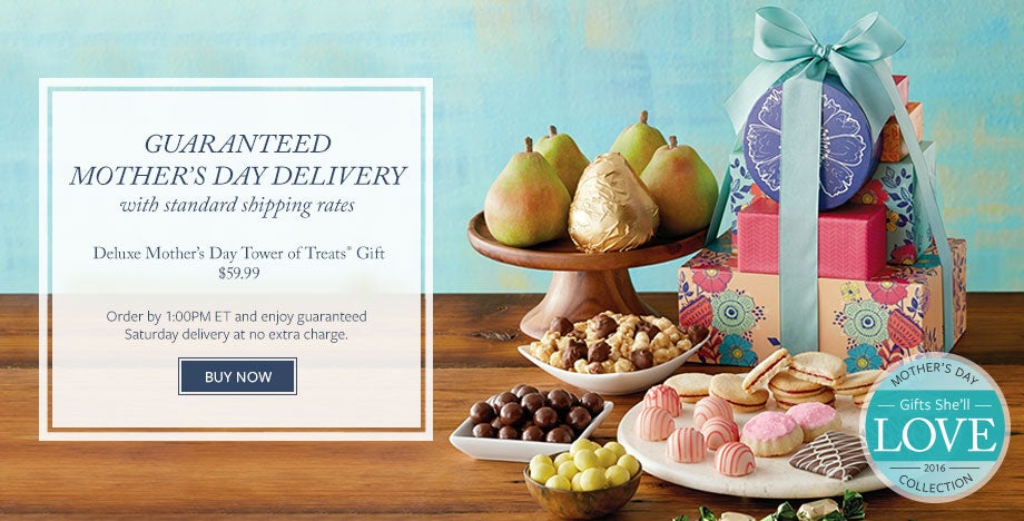 Order the Deluxe Mother's Day Tower of Treats® Gift for $59.99 by 1:00PM ET and enjoy guaranteed Saturday delivery at no extra charge. SHOP NOW