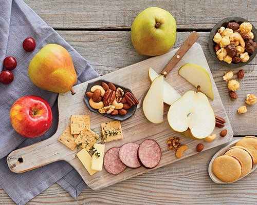 Cutting Board With Fruit, Nuts, Meat, Cookies and More