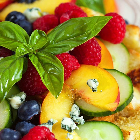 Peach Panzanella Salad with Berries and Cucumbers Recipe